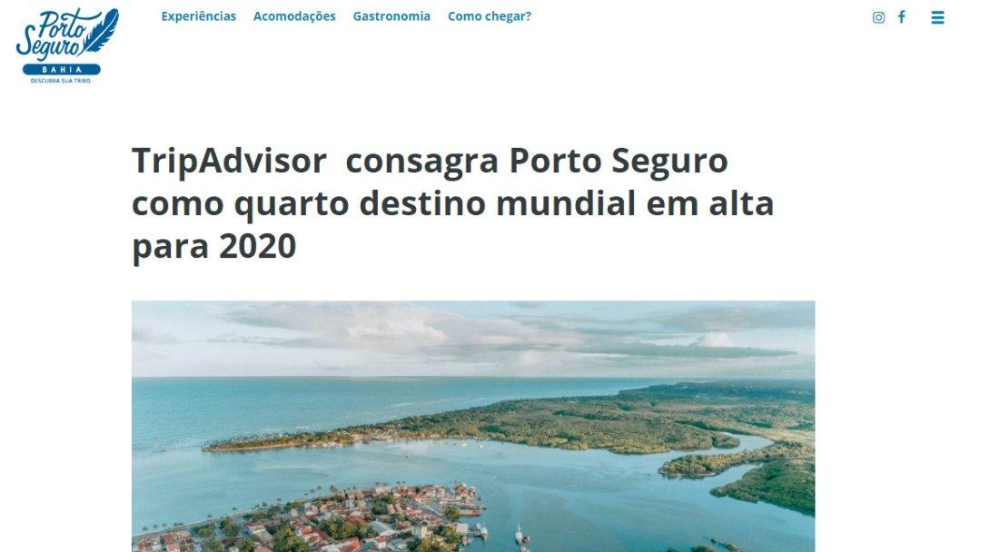 TripAdvisor consagra Porto Seguro como quarto destino mundial em alta para 2020